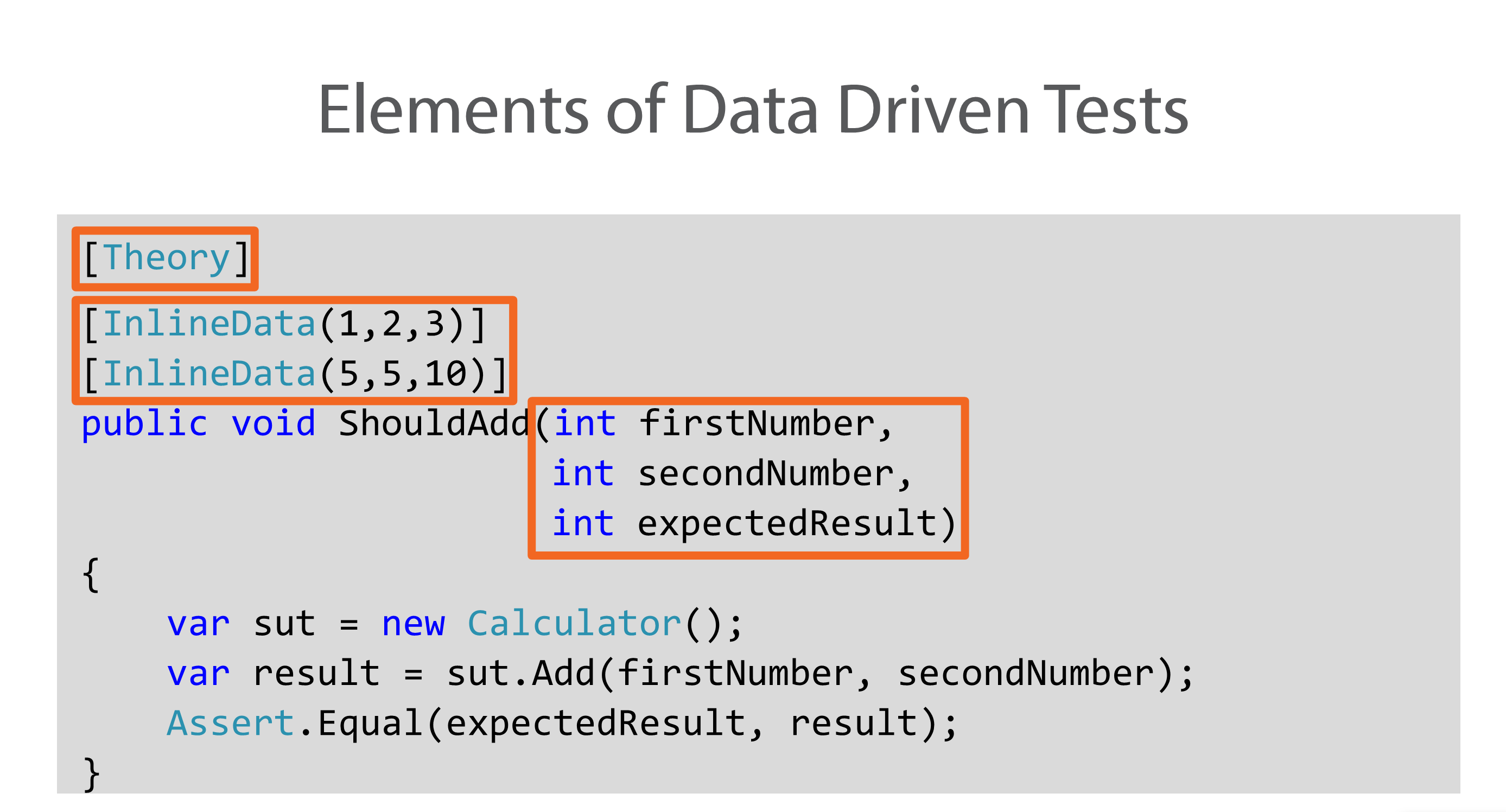 Elements of Data Driven Test